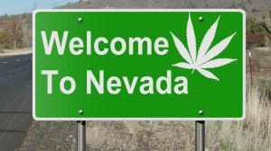 Nevada sign with marijuana leaf