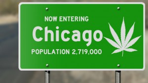 "Highway sign with marijuana leaf ""Now Entering Chicago (Illinois)"""