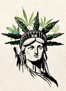 Statue of Liberty marijuana leafs vector